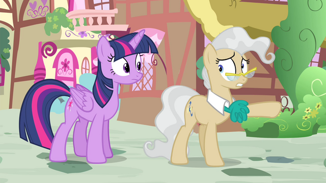 File:Mayor Mare points Twilight toward the gazebo S4E23.png