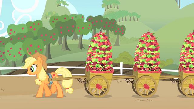 File:Applejack hauling apples S01E25.png