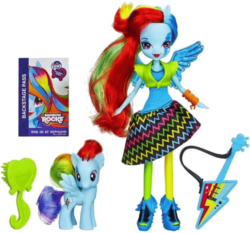 File:Rainbow Dash Equestria Girls Rainbow Rocks doll and pony set.png