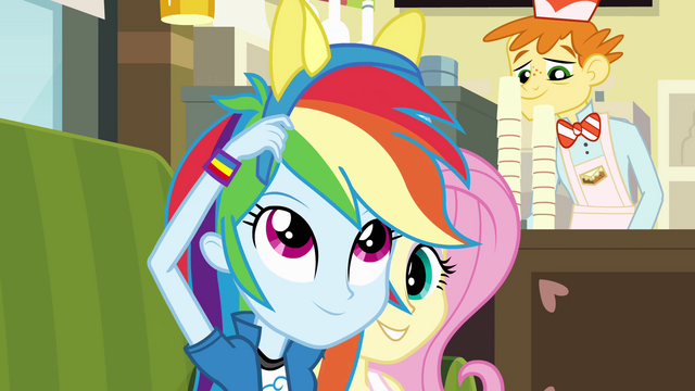 File:Rainbow Dash puts pony ears on EG.png