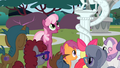 Cheerilee and class looking at Discord statue S2E01.png