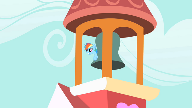 File:Rainbow Dash hiding behind the bell S1E25.png