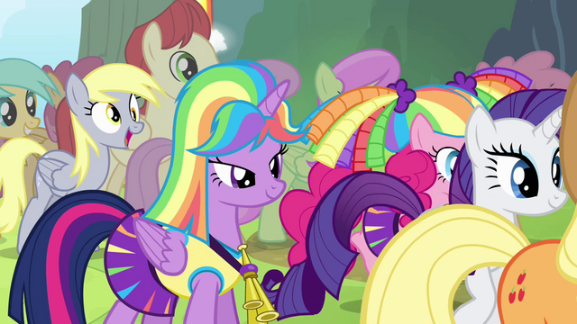 File:Twilight and friends walk up to Rainbow S4E10.png