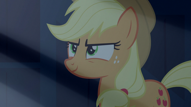 File:Applejack looking at Rainbow slyly S6E15.png