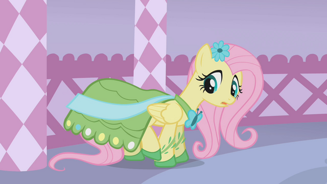 File:Fluttershy looks at her dress S1E14.png