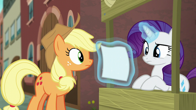 File:Rarity looking at the flyer S5E16.png