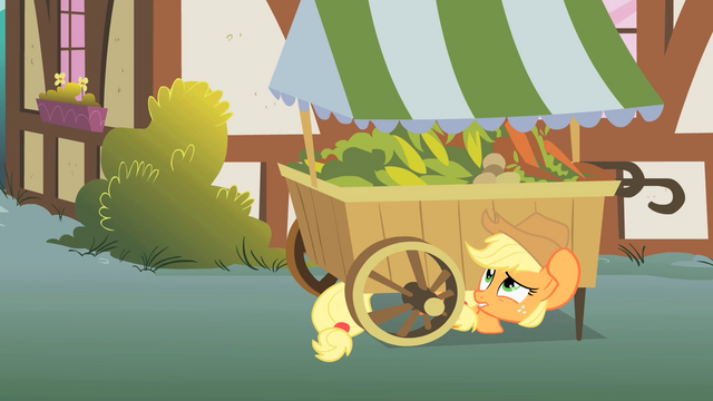 File:Applejack hiding under a vegetable stand S1E15.png