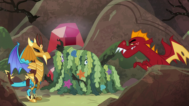 File:Garble approaching disguised Ember and ponies S6E5.png