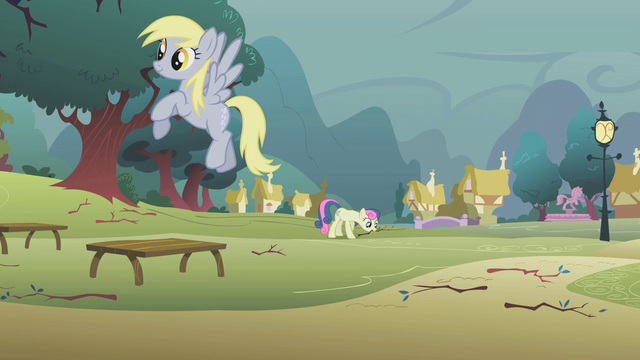 File:Sweetie Drops and Derpy clearing branches S01E08.png