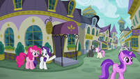 Rarity shows Pinkie Pie to Restaurant Row S6E12