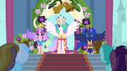 Celestia, Luna, and Cadance in coronation attire S03E13