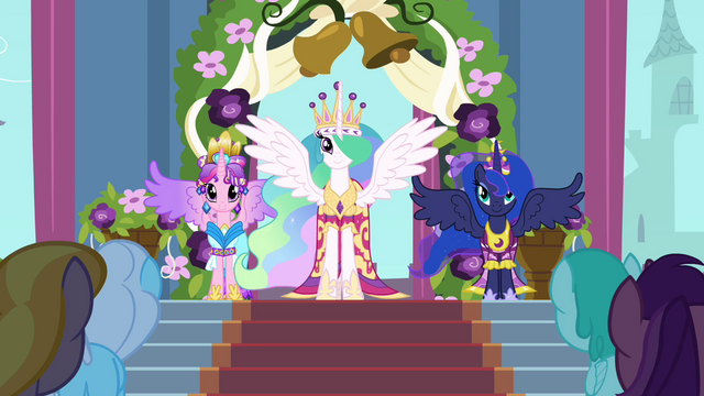 File:Celestia, Luna, and Cadance in coronation attire S03E13.png