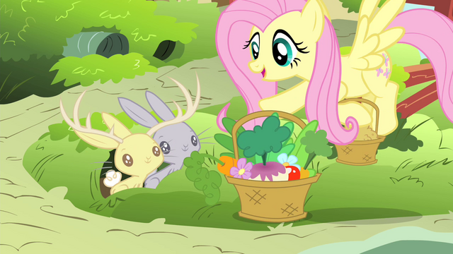 File:Fluttershy giving bunnies a basket of foods S4E14.png