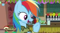 Rainbow Dash listing off Daring Do titles S6E13