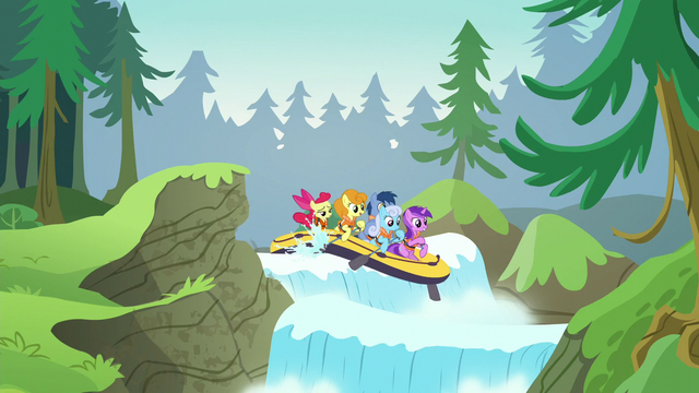 File:Apple Bloom and other ponies going through a river of waterfalls S6E4.png