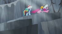 Pinkie hops from one stepping-stone pillar to another S5E8