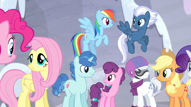 File:Mane Six and village ponies happy S5E02.png