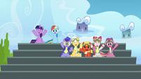 Twilight, Rainbow, and academy trainees cheering S6E24