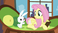 Angel pointing at Fluttershy's cutie mark S5E23.png