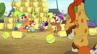 Rodeo clowns juggling balls S5E6