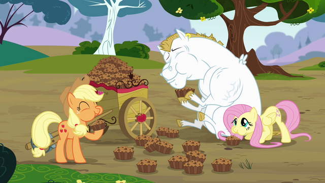File:Applejack, Bulk and Fluttershy eating bettys S4E10.png
