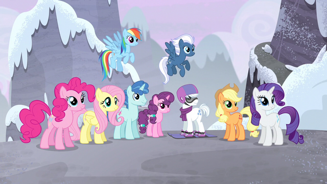 File:Main 5 and village ponies listening to Twilight S5E02.png