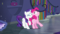 Pinkie Pie playfully bumps into Rarity S6E9