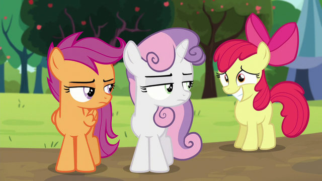 File:Apple Bloom smiling; Sweetie Belle and Scootaloo looks at her S5E17.png