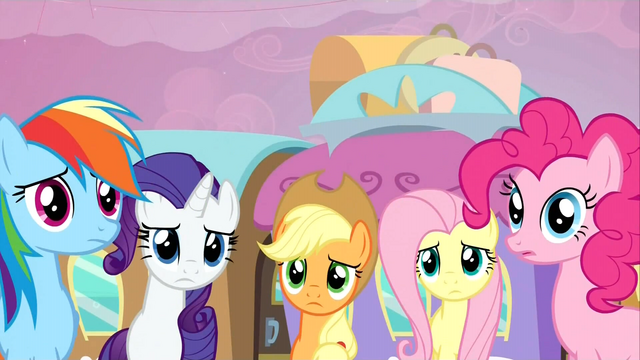 File:The main 5 ponies worried about Twilight S2E25.png
