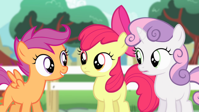 """File:Cutie Mark Crusaders """"whole bunch of practice"""" S4E05.png"""
