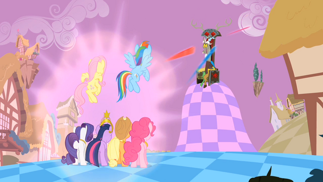 File:Main ponies Shooting the Elements at Discord S2E2.png