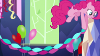 Pinkie Pie hanging paper streamers S5E3
