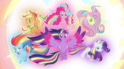 The Mane 6 in their Rainbow Power forms S4E26