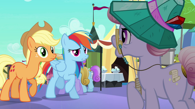 File:Rainbow and Applejack talk to librarian S3E01.png