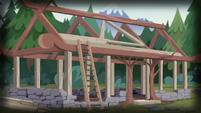 Wooden frame of Camp Everfree cabin EG4