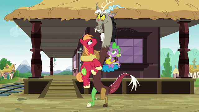 File:Discord hugging Big McIntosh and Spike S6E17.png