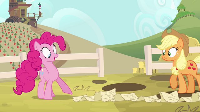 File:Pinkie Pie pointing to end of scroll S4E09.png