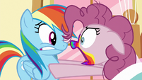 Pinkie demanding Rainbow for more cookies S6E15