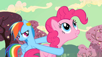 Rainbow Dash uses Pinkie Pie as a weapon S2E14