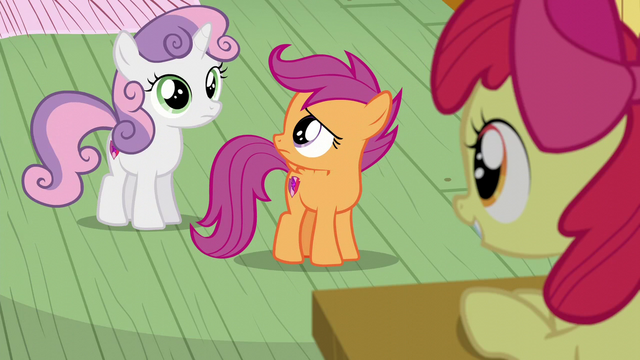 File:Scootaloo looks at Sweetie Belle S6E4.png