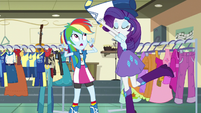 Rarity throwing a uniform onto Rainbow EG3
