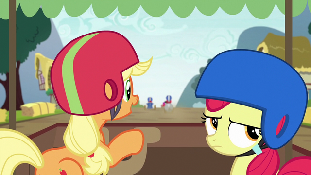 File:Applejack and Apple Bloom at back of the pack S6E14.png