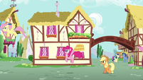 Pinkie Pie calling out to Fluttershy and Rainbow S6E11