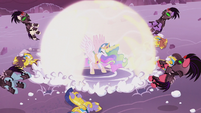Princess Celestia blows the Crystal Ponies away S5E25
