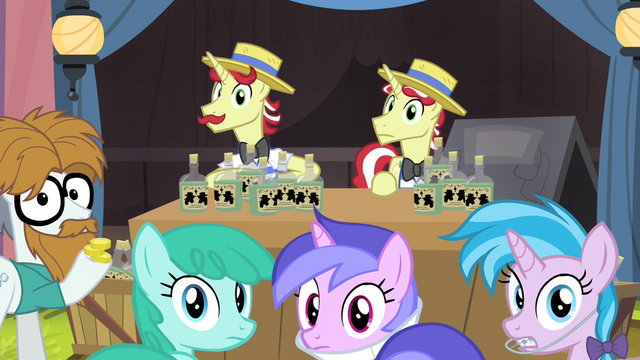 File:Flim, Flam, Silver Shill and other ponies hear Granny S4E20.png