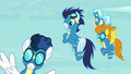 Soarin and other Wonderbolts see Stormy Flare S5E15.png