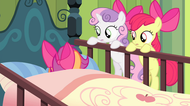File:Sweetie and Apple Bloom sees Scootaloo on bed S4E17.png
