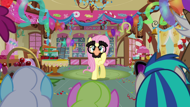 File:Fluttershy wearing Groucho glasses S03E13.png
