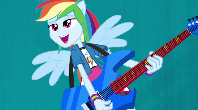 File:Rainbow Dash on blue Better Than Ever backdrop EG2.png