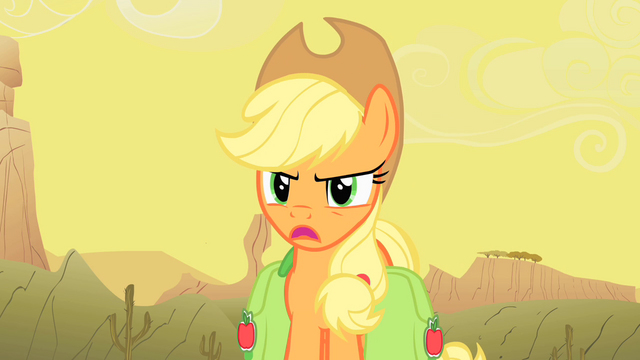 """File:Applejack """"Oh yeah... about what?"""" S1E21.png"""